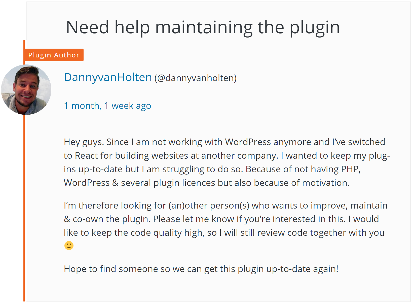 Danny van Holten asked for help maintaining his Advanced Custom Fields: Gravityforms Add-on