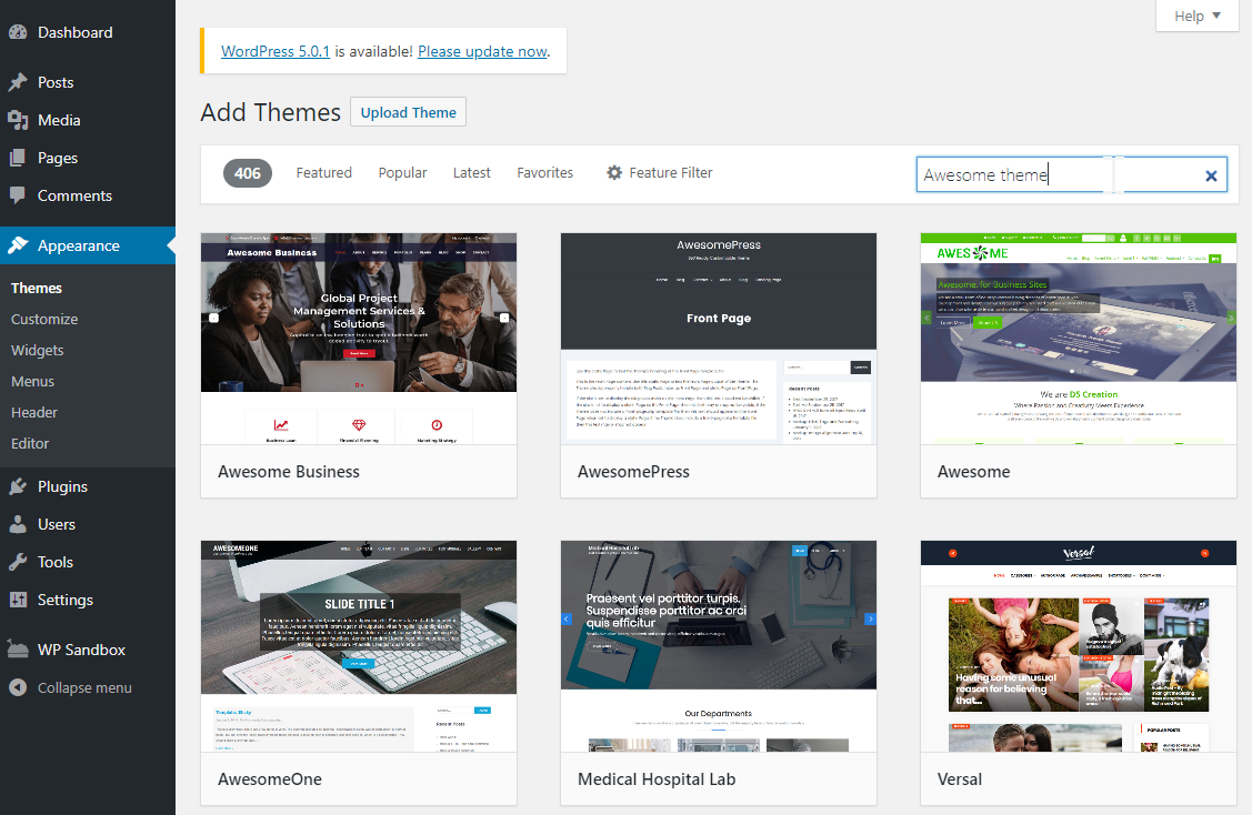 install and activate themes from the WordPress dashboard search results