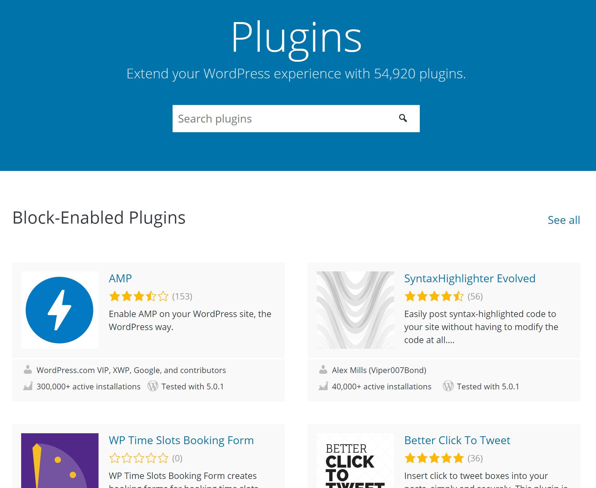 the Block-Enabled Plugins list now appears first on the main .org plugins page