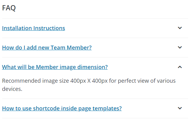 The FAQ section on the WordPress.org page of the free version of GS Team Members