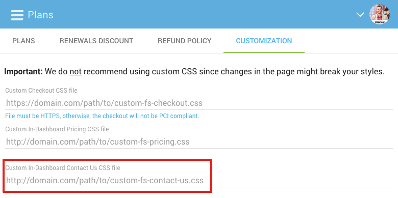 Custom CSS for WP Admin Contact Form