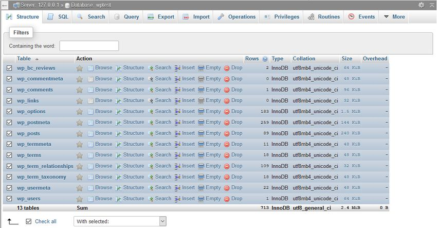 Check all tables in phpMyAdmin