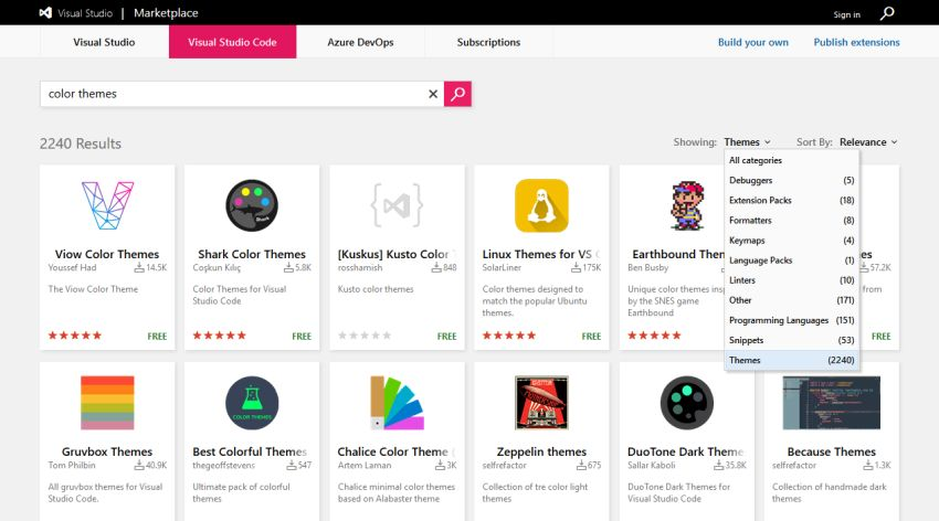 Visual Studio Code Marketplace find themes
