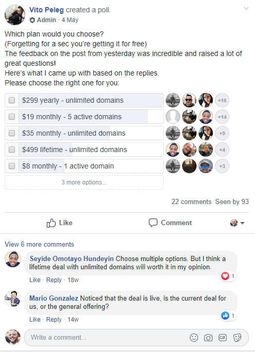 WP FeedBack Facebook poll about pricing