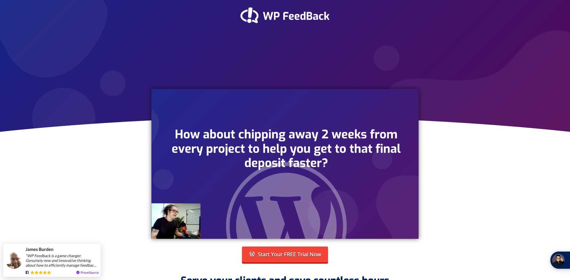 WP FeedBack free trial page