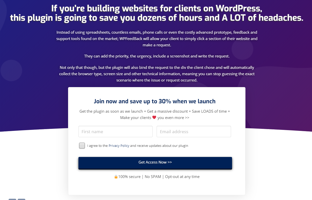 WP FeedBack opt-in landing page