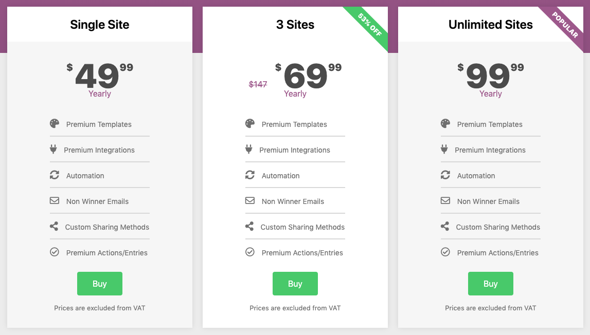 WP Simple Giveaways Pricing Table