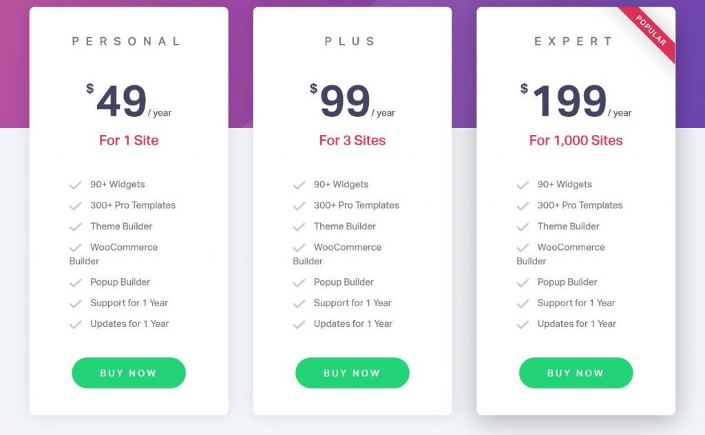 Elementor Pro pricing