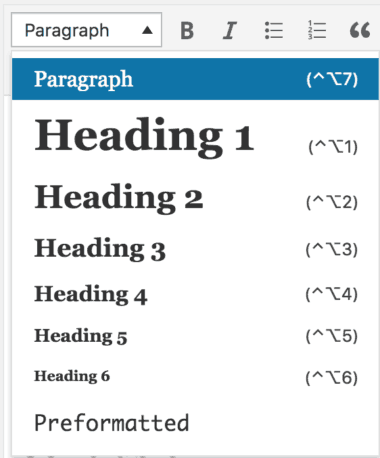 wordpress text formatting options for featured snippet
