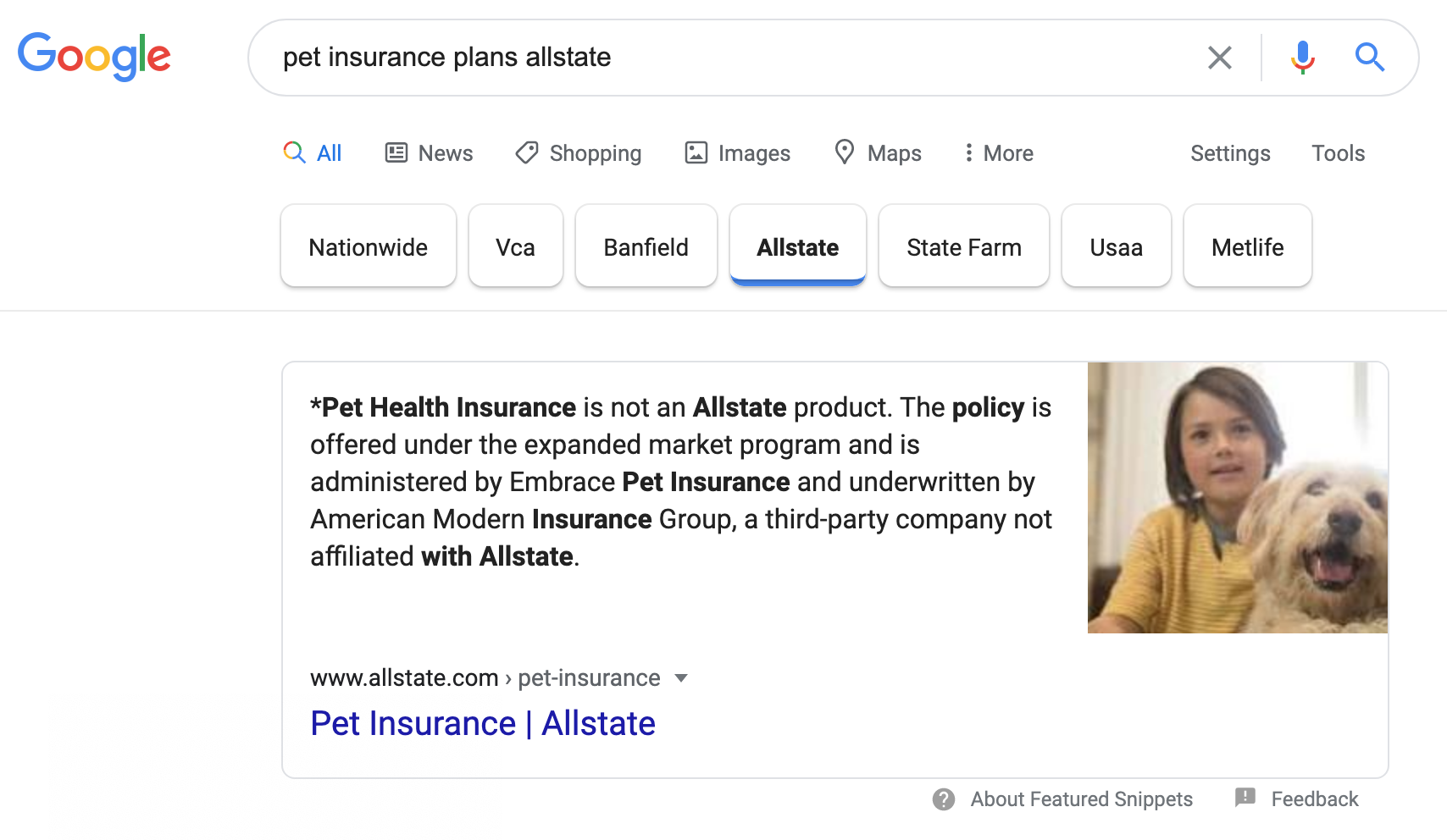 carousel featured snippet with refinement