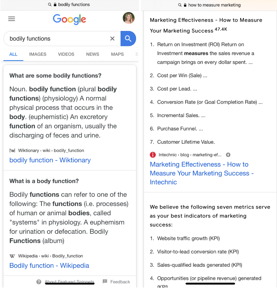 double featured snippet