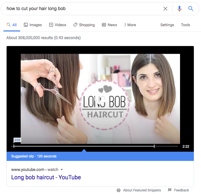How to cut your hair long bob Google featured snippet