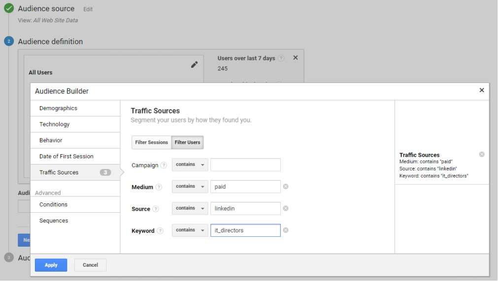 Audience Builder - Traffic Source