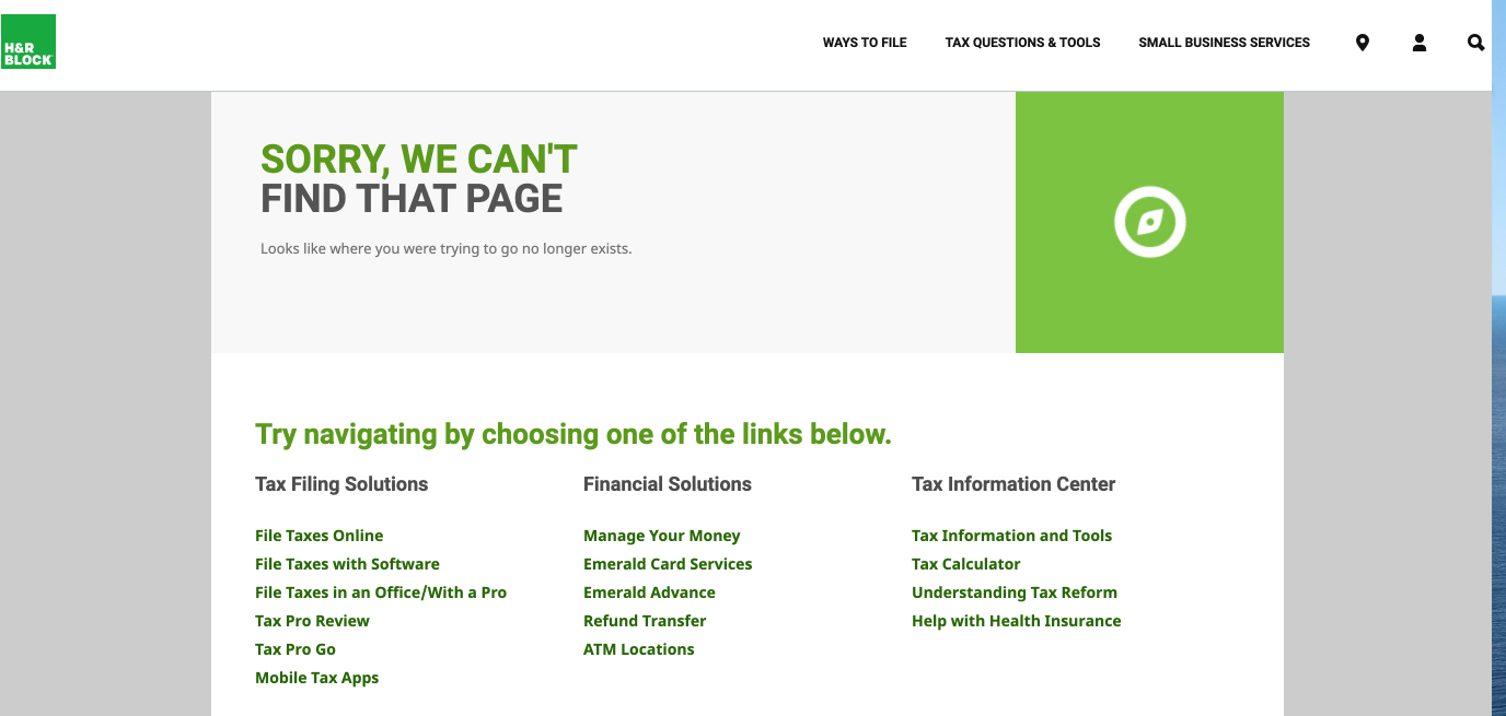 h&r block 404 page