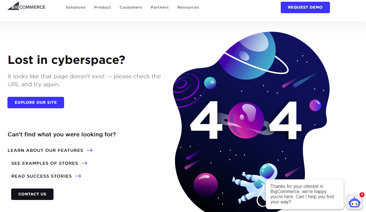 404 page bigcommerce