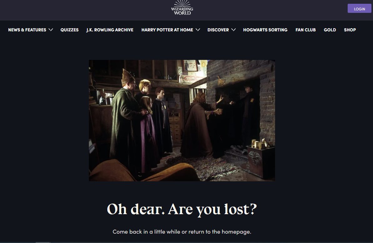 404 page wizarding world