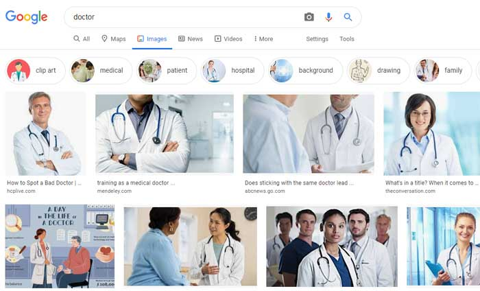 screenshot of a search result for doctor