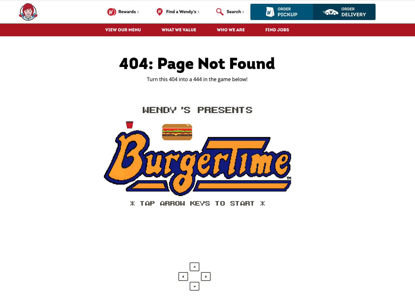 wendys 404 page