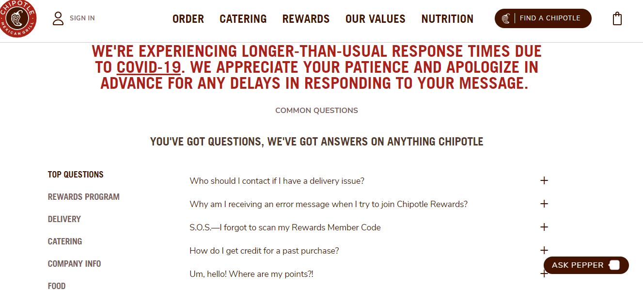 contact us page chipotle