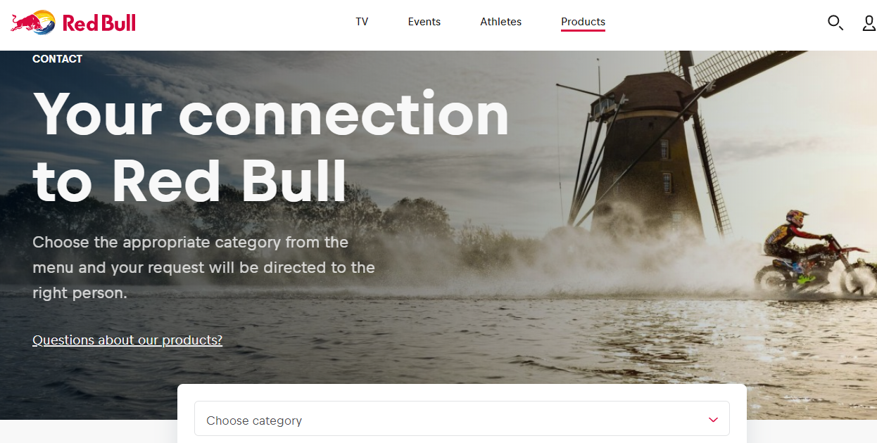 contact us page redbull