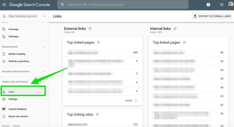links google search console